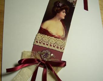 Vintage tag. Victorian lady tag, Burgundy tag.