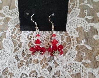 Silver & Red Flower Earrings