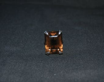 Vintage Rectangle Brown Glass Stone Ring