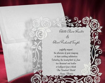 Lace Wedding Invitation Card, Glitter Frame Wedding Invitations, Floral Rose Invites, Personalized Printing, Free Shipping