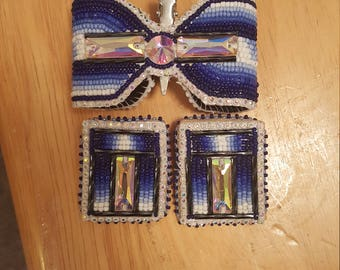 Beaded 3D bow and earring set