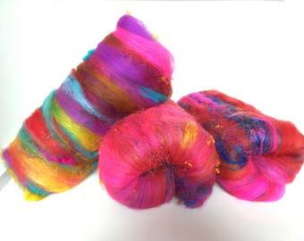 Vibrant Pink Indian Art Batt, Pink Holi Art Batt, Art Batt, Merino and silk batt, Fibre Batt for spinning, Fiber batt