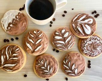 12 Latte Art Sugar Cookies