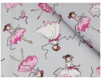 BALLERINA Cotton Fabric by the yard,  100% Cotton Fabric by the Yard, Quilt Fabric, Quilting Fabric Cotton, Nursery Decor Fabric , Dancing