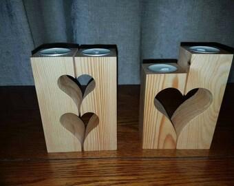Handmade tea light holders,heart