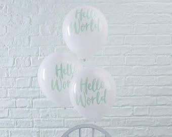 Mint U0026 White Hello World Balloons, Baby Shower Balloons, New Baby Balloons,  Baby