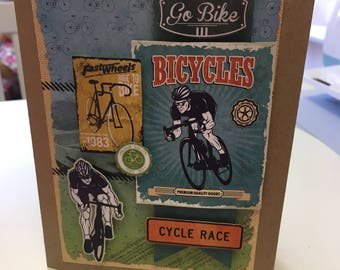 Fathers day card, happy Father's Day, cycling