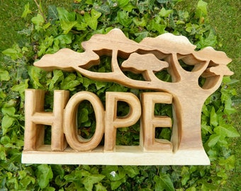 Wooden Word Art Carving - HOPE