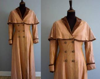Peach Silk Taffeta Cape-Collar Coat / Victorian Duster Coat / Edwardian Duster Coat '