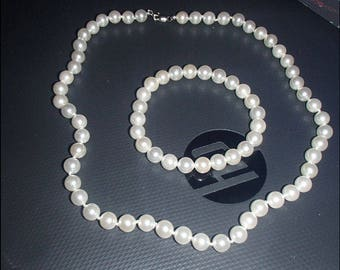 "18"" AAAA+ 7-8mm Cultured White Pearl Necklace & Bracelet"