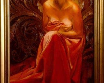 "Original Oil Painting* Oil on Canvas* Portrait Oil Painting* Female* Original Wall Art* Handmade painting* ""Radiance"" Size: 115x65 cm"