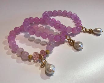 Bracelet with rose quartz and natural pearl. Stones size 10mm.