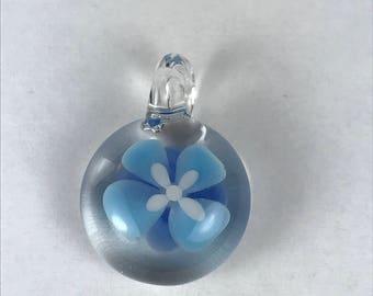 Glass Art Blue Flower Implosion Jewelry Pendant