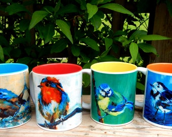 Set of 4  For the Love of Birds  Ceramic Two Tone Mugs