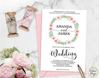 Floral Wedding Invitation Template, Rustic Laurel Wedding Invitation Printable, Editable DIY Wedding Template, PDF Instant Download FL270