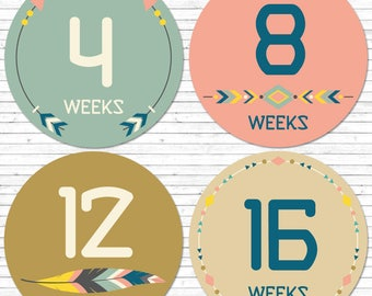 Weekly belly stickers, pregnancy stickers, baby bump stickers, maternity stickers, pregnancy milestone, weekly pregnancy stickers
