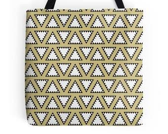 Gold tote shopper, Work bag, Lunch bag, Tote bag, Gold tote bag, Geometric shopper, Geometric tote bag, Shopping bag, Market bag, Gold bag