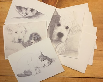 Cats and Dogs Blank Note Card Set (4)