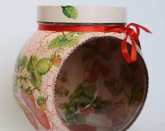 Strawberry storage jar, glass jar, decoupage jar, decorated jar, recycled jar, for girl, handmade