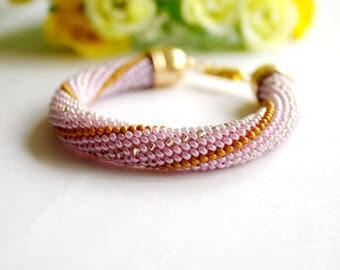 Bead Crochet Bracelet,Seed Bead Bracelet, Beadwork Jewelry, for Women, Elegant Bracelet , Pink, Gold, Silver, Handmade Bracelet, Gift