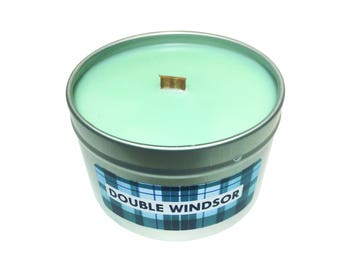 Double Windsor - Scented Soy Wax Candle, 8 oz Tin with Wooden Wick
