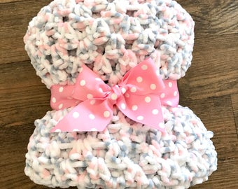 Pink and Grey Crochet Baby Blanket