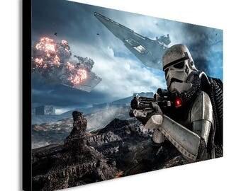 Storm Trooper Battle Star Wars Canvas Wall Art Print - Various Sizes