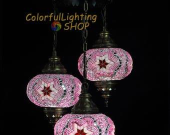 Turkish mosaic 3 globe chandelier, Turkish lamp, Mosaic Lamp, Hanging Style, Morrocan decor, Ottoman Light, Stunning handcraft globe glass
