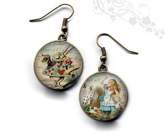 Alice rabbit card game, Wonderland.R181 earrings