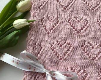 Hand knitted wool baby blanket, Wool blanket, Baby blanket, Hearts blanket