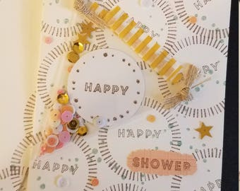 """Hand made stamped """"Happy Shower"""" Card with banner filled with confetti."""