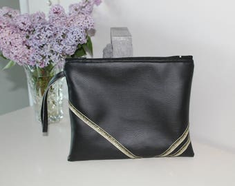 Bag - Clutch in faux black leather and black silver glitter Ribbon