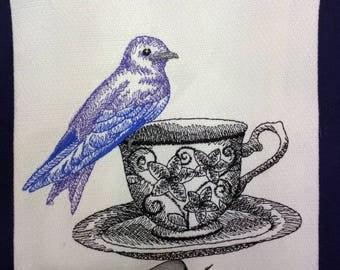 """Custom Embroidered tea towel Bird Lovers, Tea Drinkers """"Purple Wren on Teacup"""""""