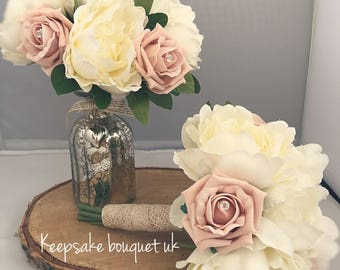 Ivory and blush pink bridesmaid bouquet