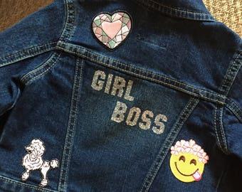 GIRL BOSS Glitter Toddler Girls Denim Jacket - 2T