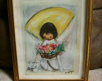 1964 De Grazia Framed Print Signed under Glass