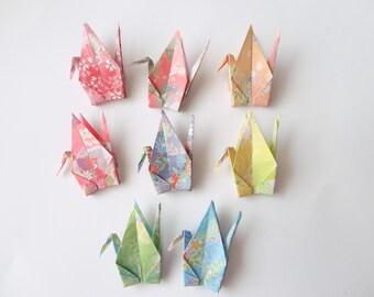 Ready to ship!100 3''  Flower Origami paper crane,Make a wish,Washi Chiyogami,Cute Origami crane,wedding,party,Decoration,Card