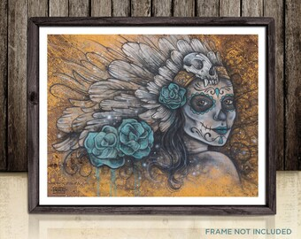 Psychedelic Day of The Dead Ghost Art Painting Print