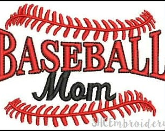 SALE, Baseball Mom Embroidery Design, Embroidery Deisgn, PES Embroidery Design, Instant Download, Baseball Embroidery Design