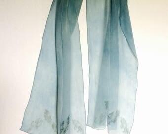 Indigo dyed Silk Chiffon Scarf - Pale Blue -Fresh Leaf Indigo