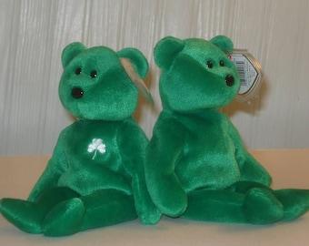 Ty, Beanie, Baby, Erin,  Bear, Irish, emerald, green, shamrock,  St. Patrick's Day March 17, 1997