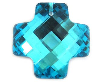 Bermuda Blue Swarovski Crystal Equivalent Cross Pendant 6 pack