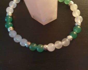 White agate and green aventurine gemstone bracelet crystal healing