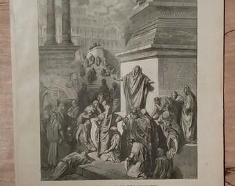 Jonah Preaching to the Ninevites - Vintage Bible Lithograph Print