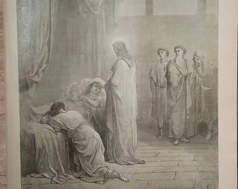 Jesus Raising Jairus' Daughter - Vintage Bible Lithograph Print