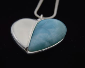Earring with Larimar gem... HEART... Jewel by Andrea Chiavacci