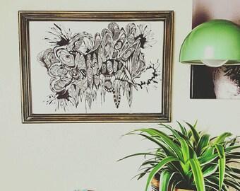 Mural, hand-drawn art framed vintage wood frame,