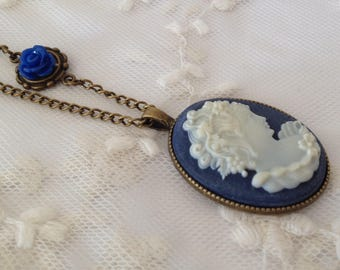 Reversible blue Lady cameo necklace.