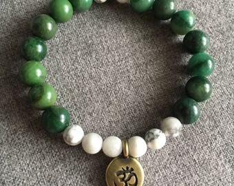African Jade and Howlite Beaded Bracelet with Om Charm