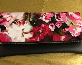 Classy Gold Zippered Clutch, Savannah Floral